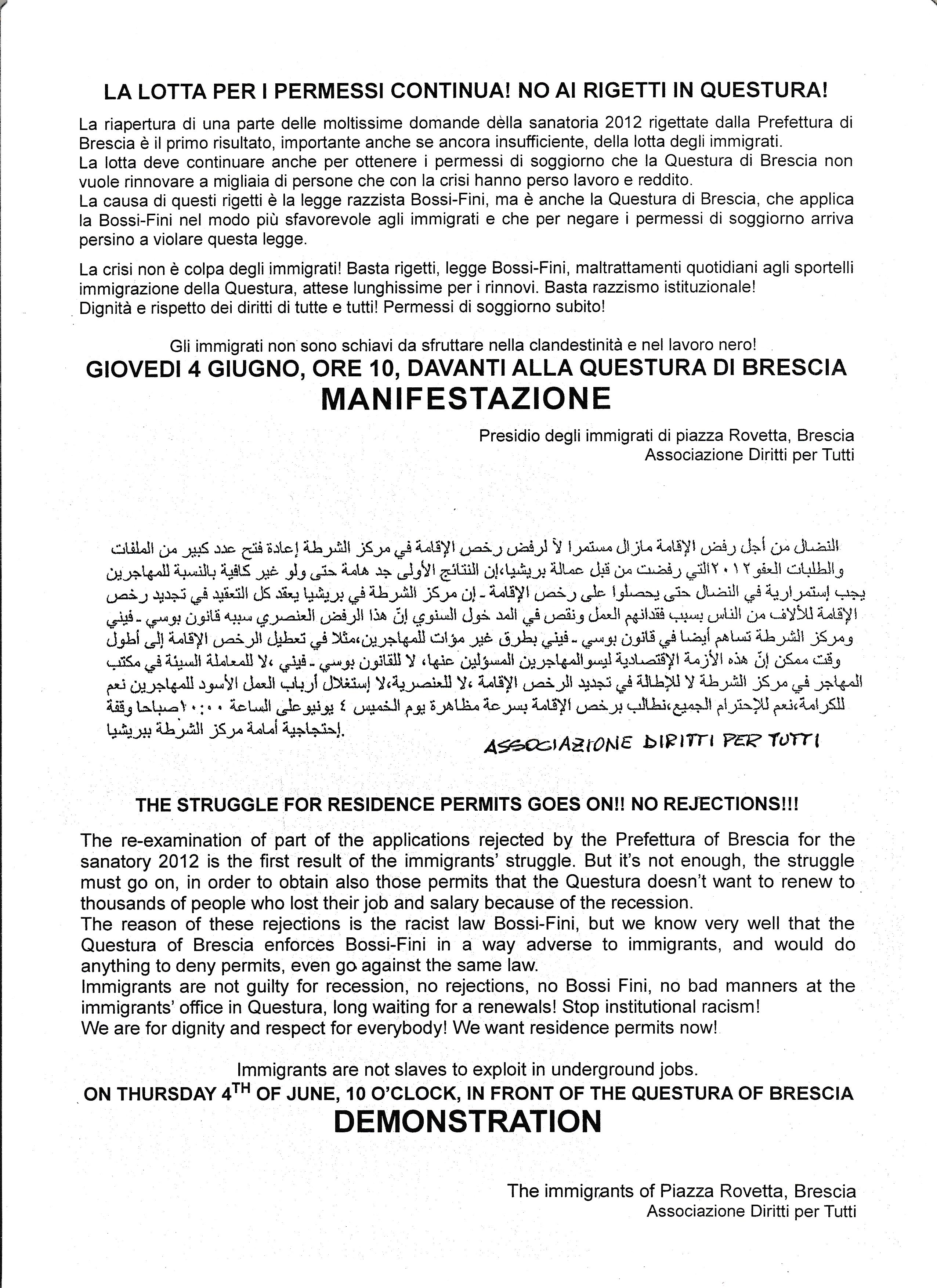 Lotta per i permessi: i nuovi appuntamenti « Associazione Diritti ...